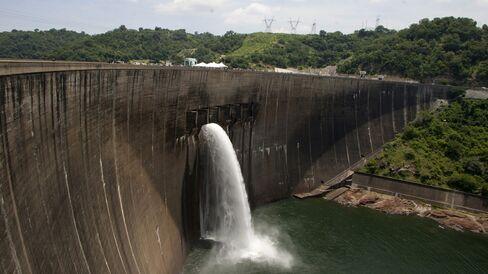 Flood gates on the Kariba Dam between Zimbabwe and Zambia.