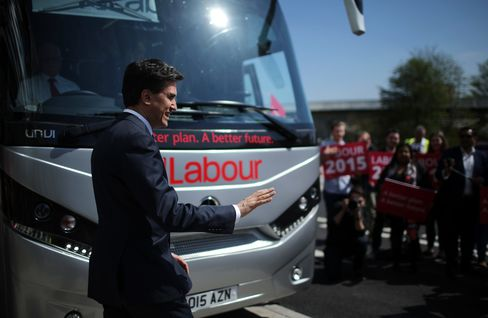 Labour party supporters greet leader Ed Miliband after a speech on the Party's NHS rescue plan at Manchester Metropolitan University on April 21, 2015.