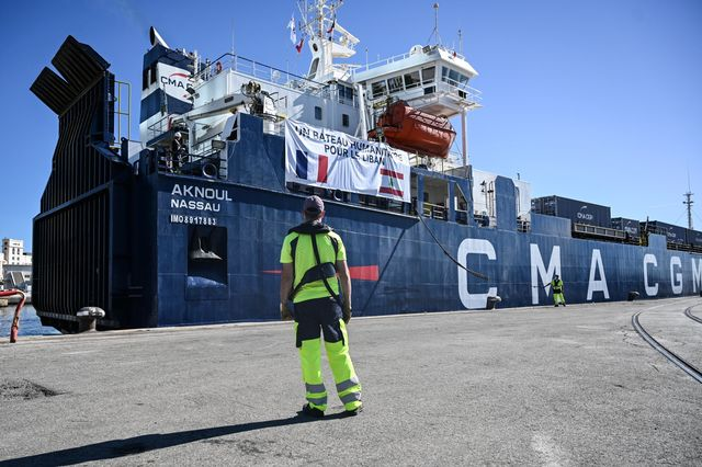 Bound for Lebanon, the CMA CGM container ship is loaded with humanitarian aid in Marseille, France, on Aug. 25.