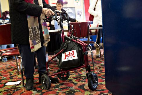 Her walker carried campaign swag.