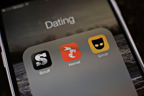 The gay dating apps Scruff, Hornet, and Grindr.