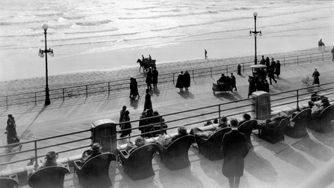 The Atlantic City boardwalk circa 1929, back in the era when the New Jersey coast was considered good for your health.