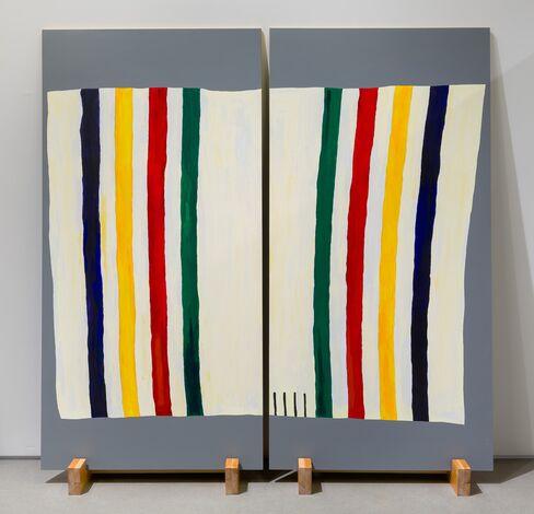 Joanna Malinowska,4 Point Hudson Bay Blanket (2016). Acrylic on plywood and wood stand.