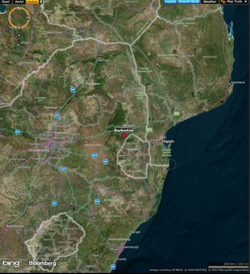 Map: Location of Vantage Goldfields mine accident in eastern South Africa