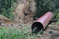 Installing a natural gas pipeline for Rover near Moundsville, W.Va.