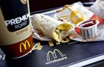 A McDonald's sausage breakfast burrito is shown at a McDonald's Restaurant in Hillside, New Jersey.