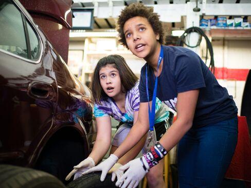 Eighth grade students from Oyster-Adams Bilingual School learn auto mechanics in Washington D.C.
