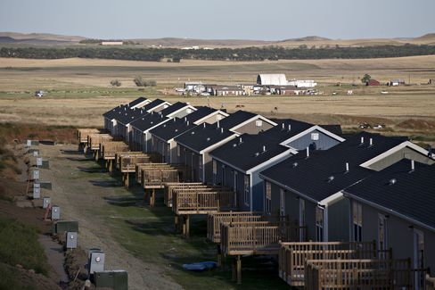 Newly built homes in Watford City.