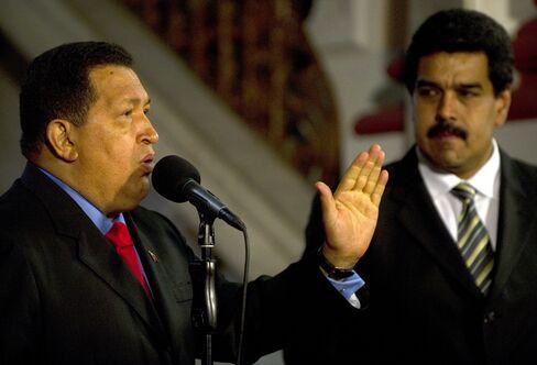 Venezuelan President Hugo Chavez and Vice PresidenNicolas Maduro