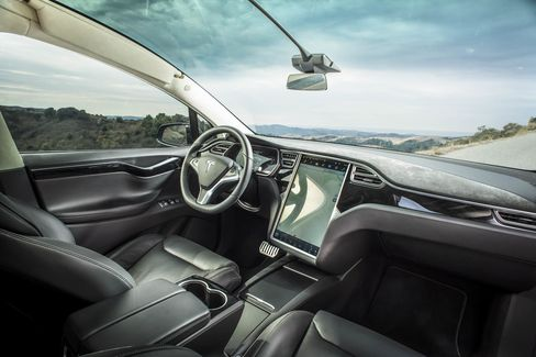 The 17-inch computer screen inside the Model X controls everything in the car, from climate and navigation to ride control and battery diagnostics.
