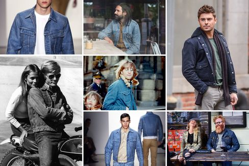 Clockwise from top left: denim in Calvin Klein Collection's Spring 2015 runway show; a jean jacket spotted at Beyond Retro, a shop in London's Hackney neighborhood; actor Zac Efron on location for a film; seen on the streets of Copenhagen; another look from Calvin Klein Collection's Spring runway; Robert Redford with Lauren Hutton on set in 1970; John Lennon in New York City in 1977.