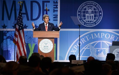 John Kerry addresses a gathering of the Export-Import Bank