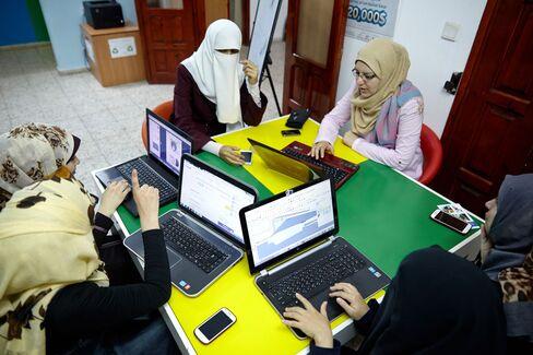 Gaza's would-be entrepreneurs at work.