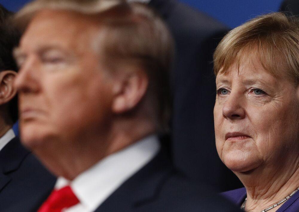 Angela Merkel i Donald Trump na szczycie NATO w Wielkiej Brytanii w 2019 r.