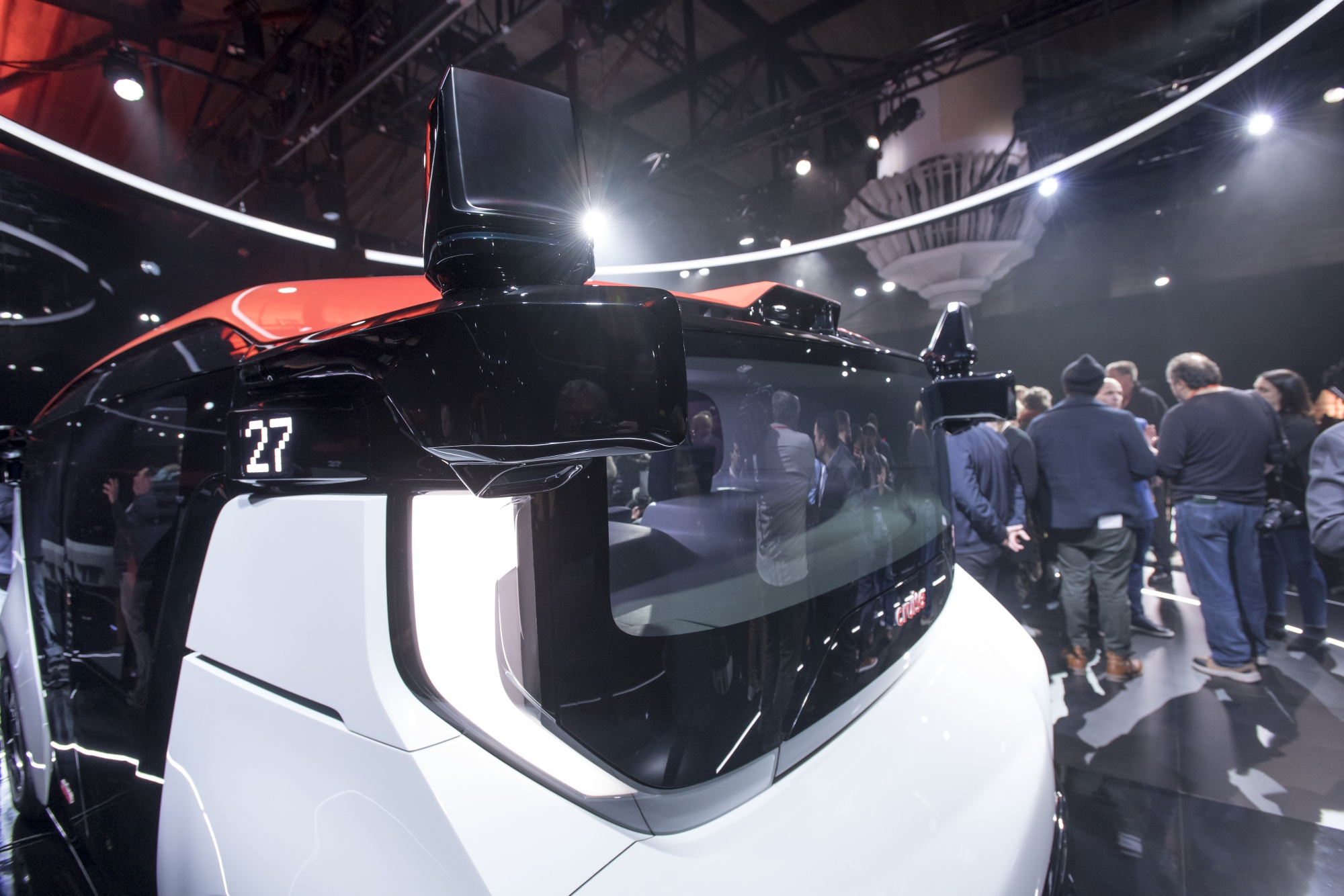 A General Motors Cruise Origin electric driverless vehicle.