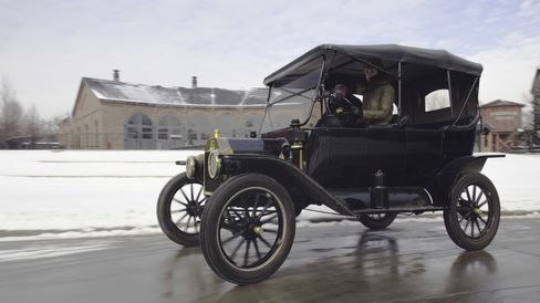 """""""Doing the Model T dance"""" on some back roads outside Detroit—in 12-degree weather."""