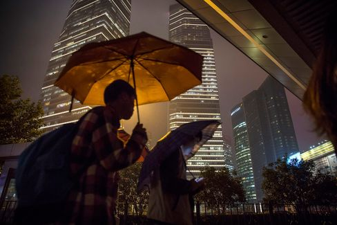Commuters in the Pudong Business Area of Shanghai as Plenum Concludes