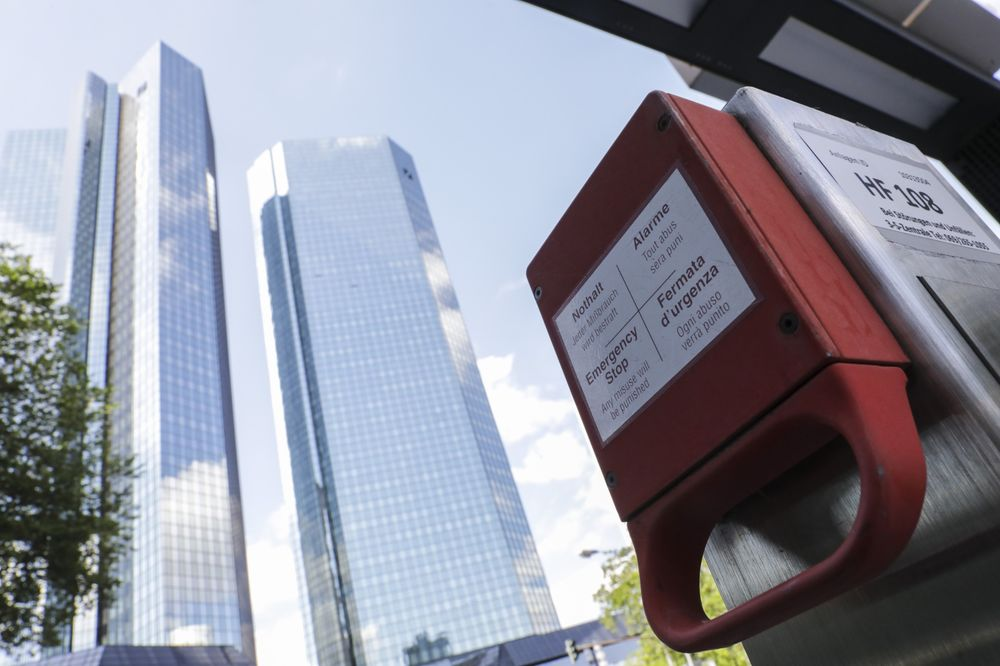 An emergency stop handle in front of the Deutsche Bank headquarters in Frankfurt on July 7.