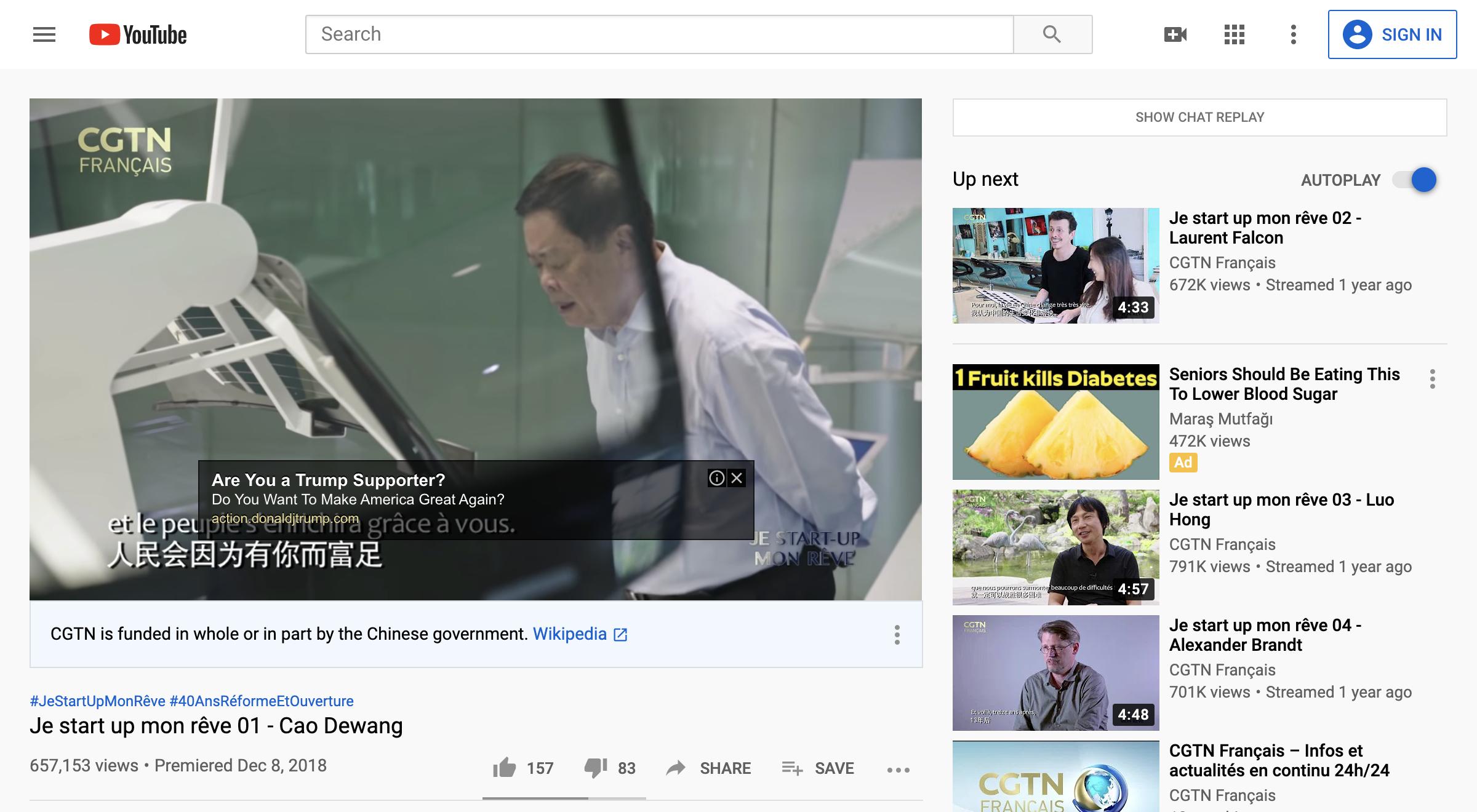 concerne les annonces de campagne de Trump diffusées sur la chaîne YouTube des médias d'État chinois