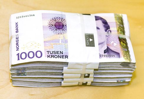 A bundle of Norwegian Krone notes