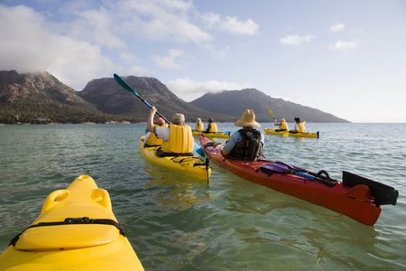 Sea kayaking in Coles Bay on the Freycinet Peninsula.