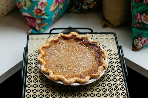 Behold Sister Pie's delicious tahini-cardamom squash pie in all its glory.