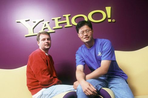 David Filo, left, and Jerry Yang are seen in Santa Clara, Calif. in 1999.