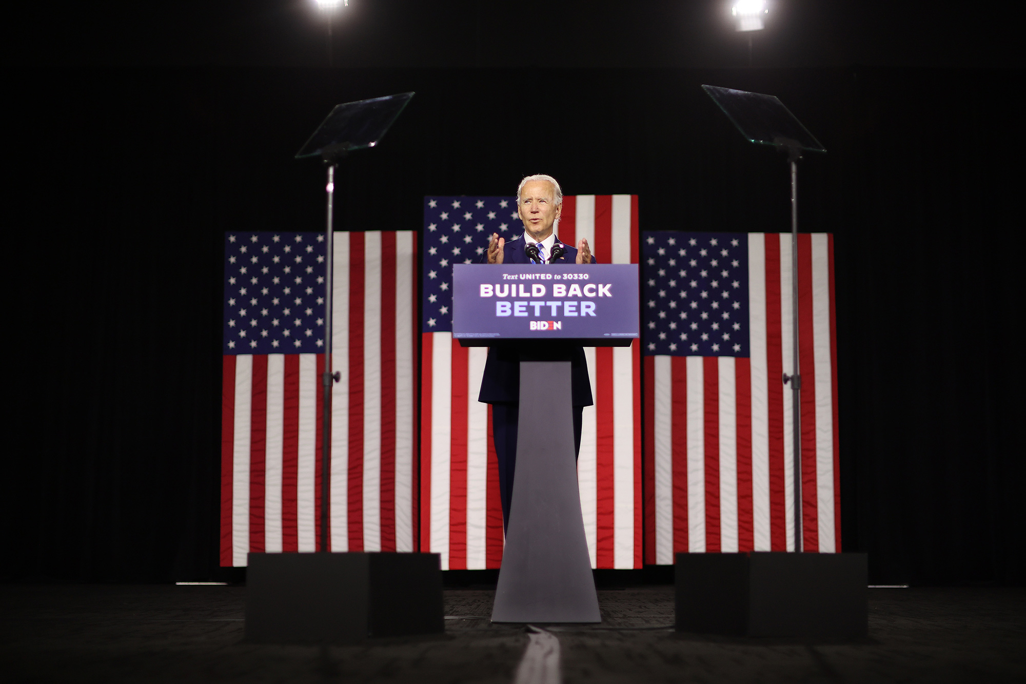Joe Biden speaks at the Chase Center July 14, 2020 in Wilmington, Delaware on his campaign's clean energy economic plan.