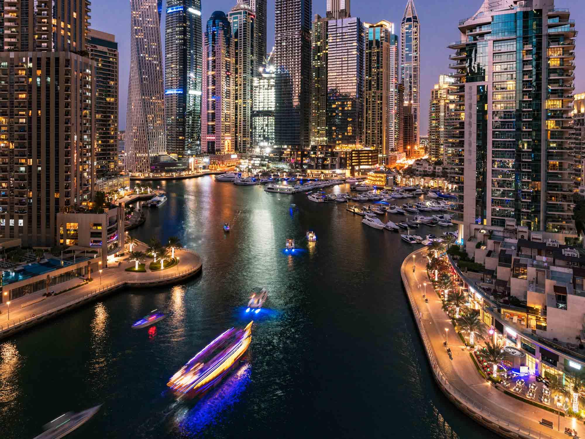 Dubai Marina Urban Skyline at sunrise