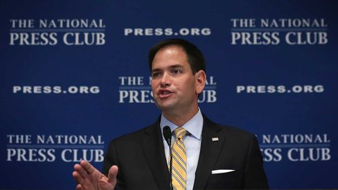 U.S. Sen. Marco Rubio (R-FL) speaks during a National Press Club Newsmaker Luncheon May 13, 2014 in Washington, DC.