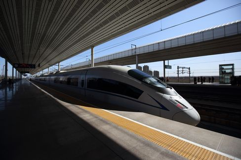A China Railways high speed train stands at Wuqing Railway Station in Tianjin, China, on March 11, 2015.