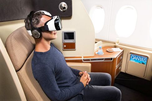 Qantas first-class passengers experience virtual reality, via Samsung's Gear VR headset.