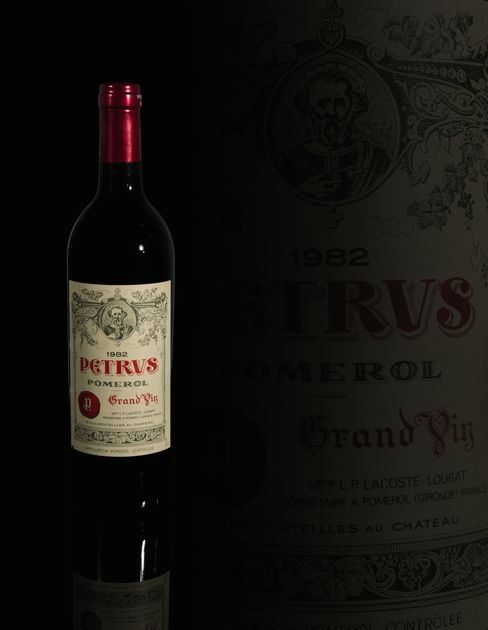 Bottles of Petrus 1982 Bordeaux go on sale at Sotheby's in London.