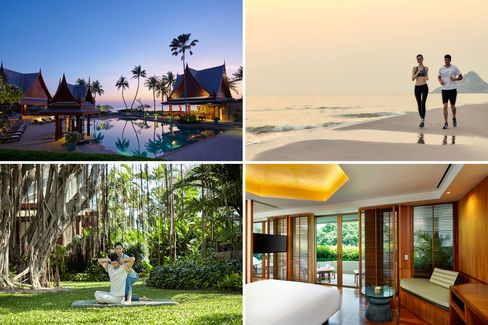 Clockwise from top left: the pool, with a beach view; a morning run; view from a suite; a Thai massage.