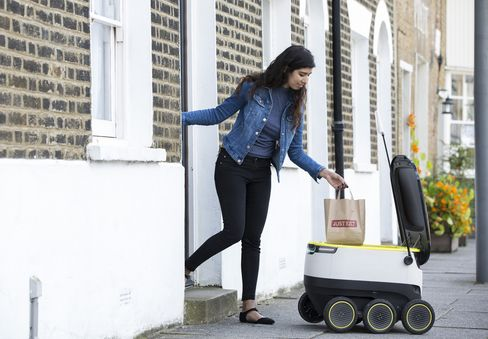 Just Eat's Starship robot delivery trial in London.