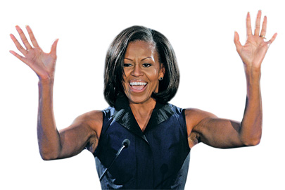 The first lady also has tried the fitness program