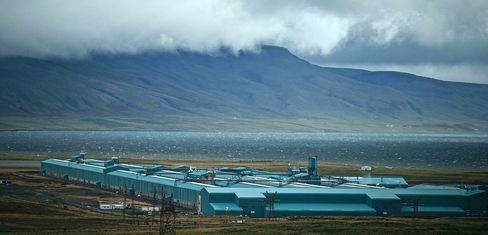 The Nordural aliminum smelting plant stands on the Hvalfordur fjord in Iceland, Tuesday, Sept. 10, 2