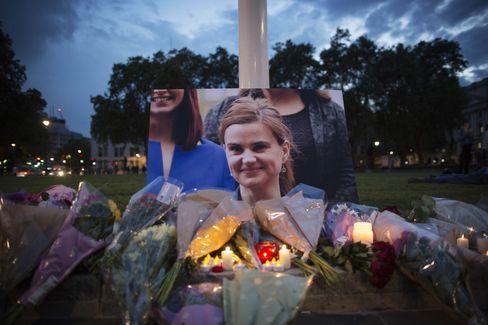A vigil for Jo Cox in Parliament Square, London.