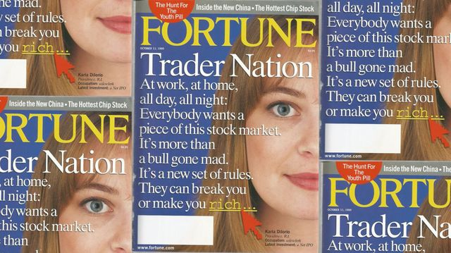 """Cover of Oct. 11, 1999 issue of Fortune magazine with headline, """"Trader Nation"""" and description, """"At work, at home, all day, all night: Everybody wants a piece of this stock market. It's more than a bull gone mad. It's a new set of rules. They can break you or make you rich..."""""""