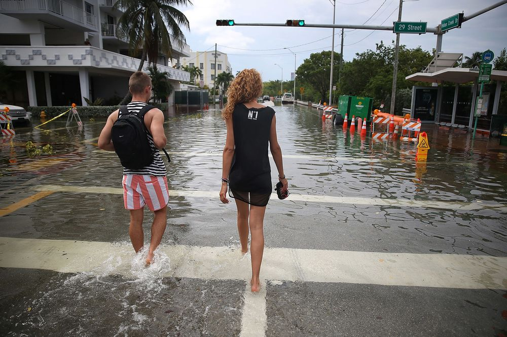 A Flooded Street After High Tides In Miami Beach