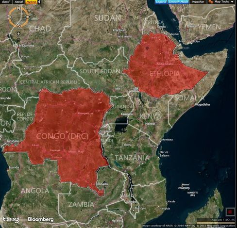 MAP: Democratic Republic of Congo and Ethiopia, markets where Equity Group is targeting growth.