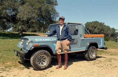 1983: President Reagan stands with his Jeep Scrambler at his Rancho del Cielo in California.