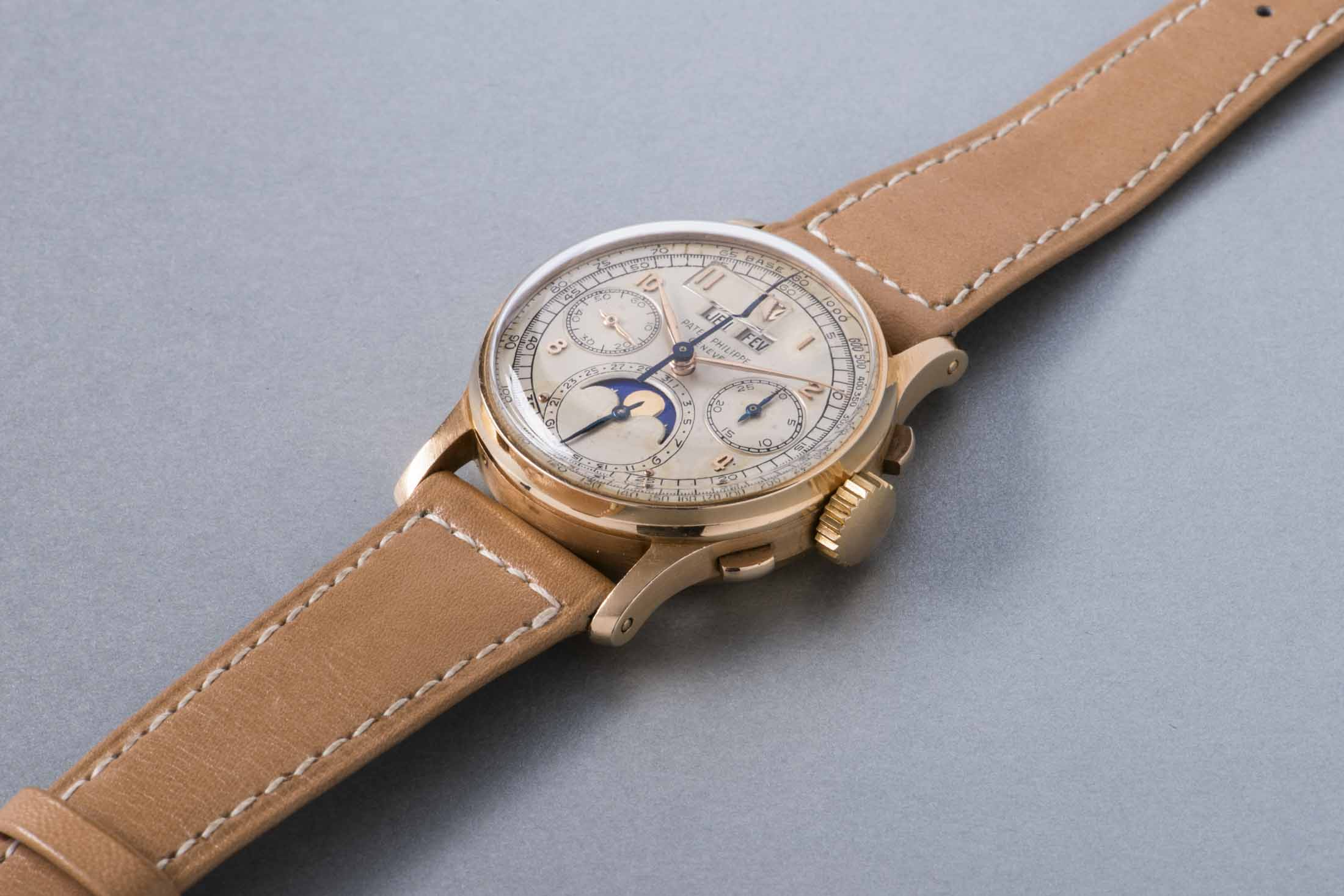 Patek Philippe Pink Gold Perpetual Calendar Chronograph Wristwatch With Moonphases and Tachymeter Scale
