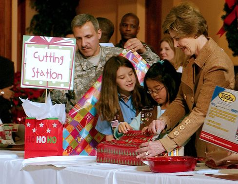 First Lady Laura Bush helps wrap Christmas gifts destined for injured soldiers in 2006