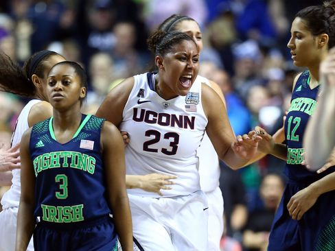 Kaleena Mosqueda-Lewis (pictured) and Moriah Jefferson each scored 15 points Monday night in Tampa, Florida, for the Huskies, who became the second Division One college basketball team with 10 or more titles -- joining the UCLA men, who have 11.