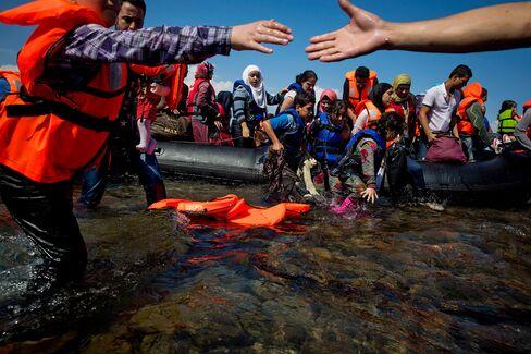 Refugees land in Lesbos, Greece in September 2015.
