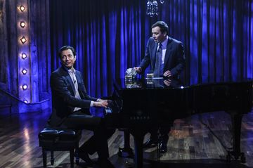 LATE NIGHT WITH JIMMY FALLON -- Episode 218 -- Pictured: (l-r) Jeff Goldblum plays the piano with Jimmy Fallon on March 29, 2010  (Photo by Dana Edelson/NBC/NBCU Photo Bank via Getty Images)