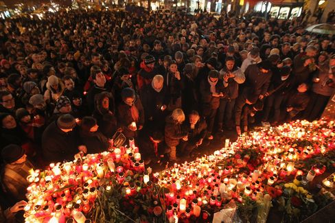 People Gather to Light Candles for Vaclav Havel