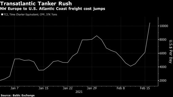 Oil Traders Rush for European Diesel to Help Supply Icy U.S.