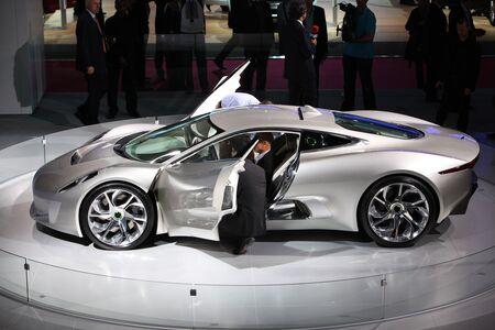 The Jaguar C-X75 concept car at the Paris Motor Show in 2010.